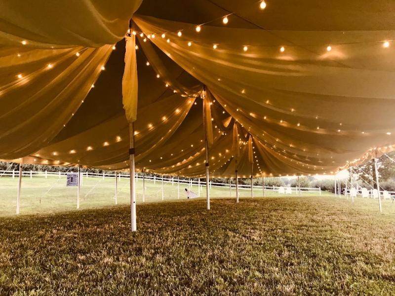 Tent Fabric Drapery with String Lighting