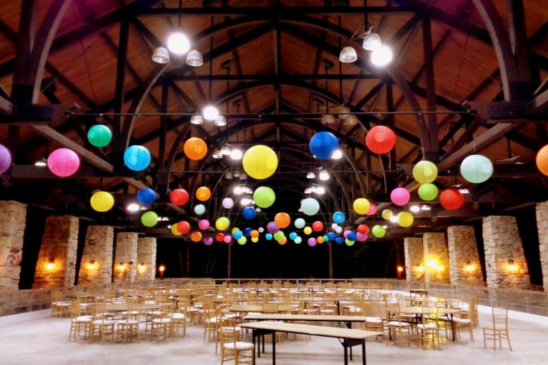 Colorful paper lanterns by Hourglass Lighting
